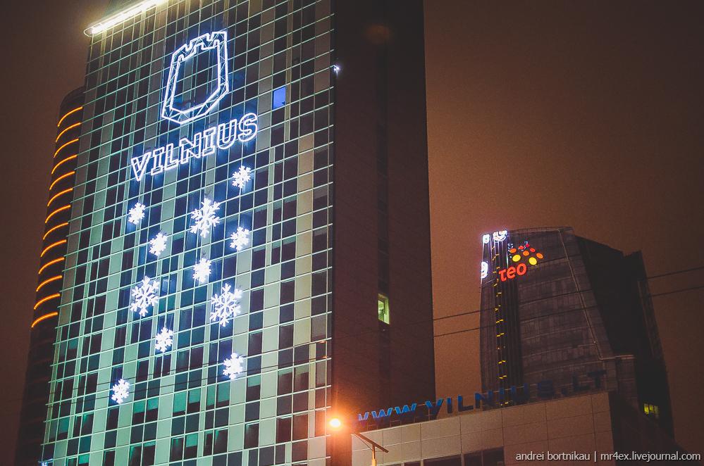 Новогодний Вильнюс, ночной Вильнюс, Литва зимой