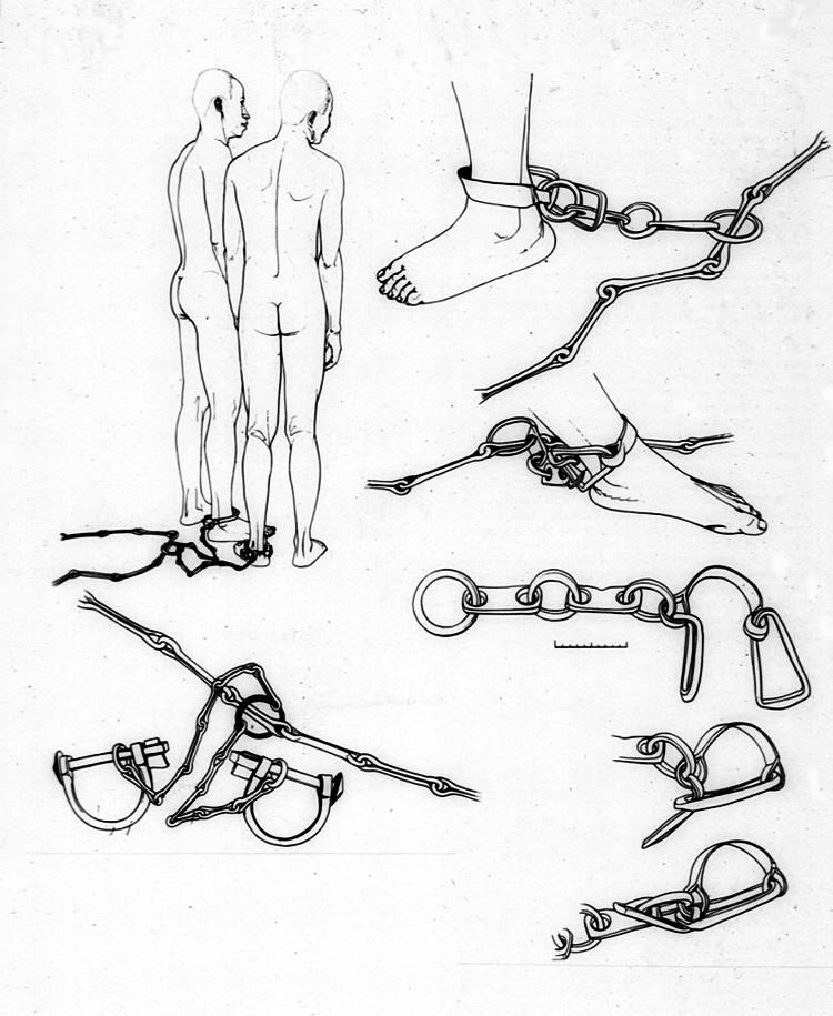 Виды ножных кандалов, использовавшиеся в процессе перевозки африканских невольников через Атлантику (1784 год)