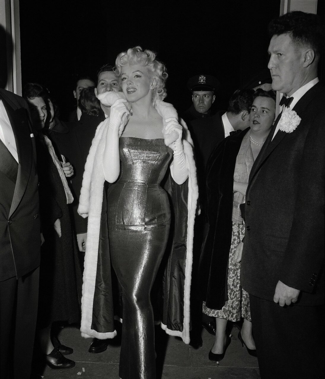 Marilyn Monroe Posing in Long Fitted Evening Gown