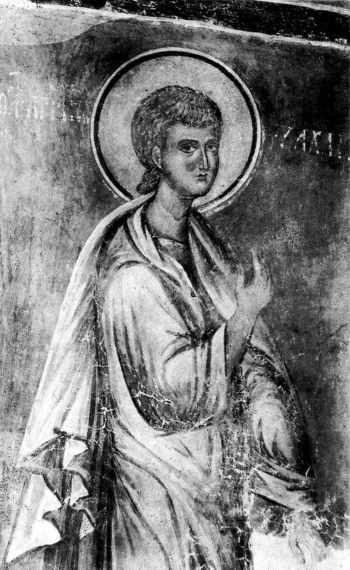 Святой Пророк Захария Серповидец. Фреска Михайло-Сковородского монастыря в Новгороде. Около 1360 года.