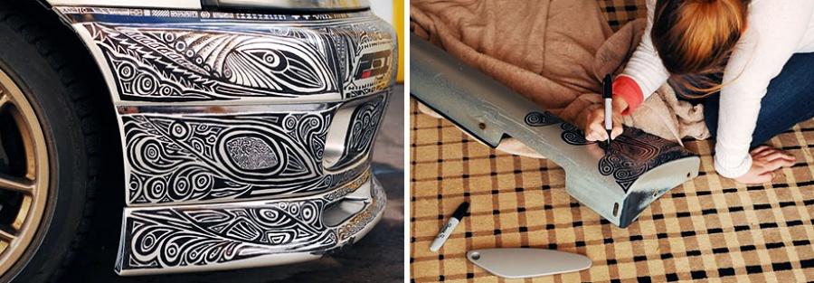 Xudozhnica-razrisovala-markerom-avtomobil-svoego-muzha-10-foto