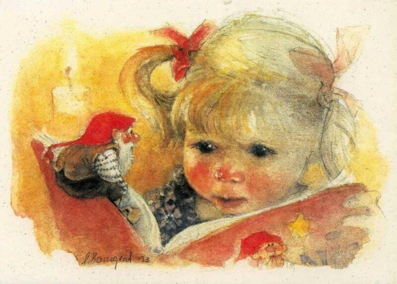 Гном и девочка, автор Lena Bourgeat