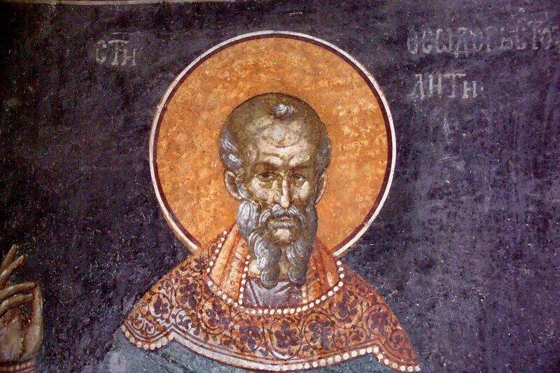 Святой Преподобный Феодор Студит. Фреска монастыря Грачаница, Косово, Сербия. Около 1320 года.