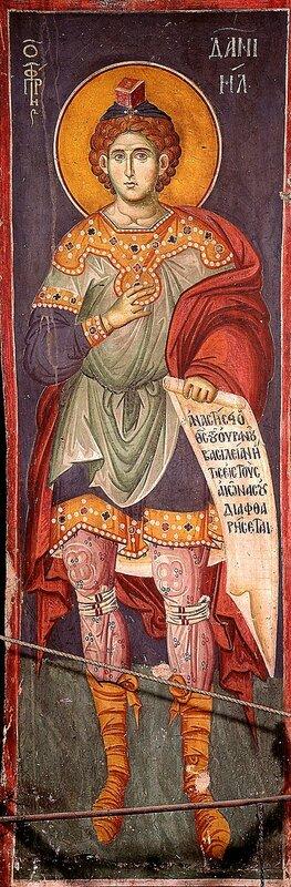 Святой Пророк Даниил. Фреска Мануила Панселина в монастыре Протат на Афоне. Конец XIII века.
