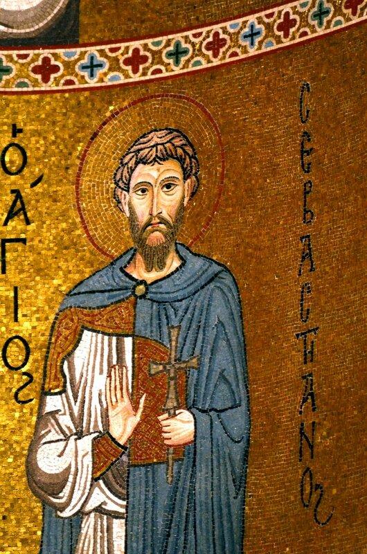 Святой мученик Севастиан. Мозаика Палатинской капеллы в Палермо. XII век.