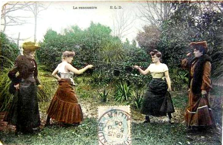 Французская почтовая открытка La rencontre В записках французской маркизы де Мортене, которая ч