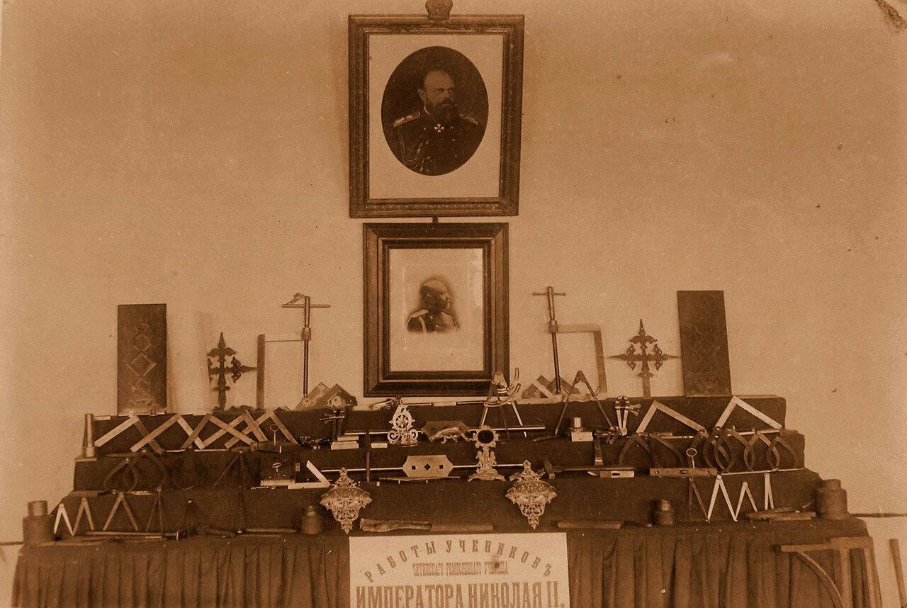 88. Вид части экспозиции с работами учащихся Читинского ремесленного училища императора Николая II