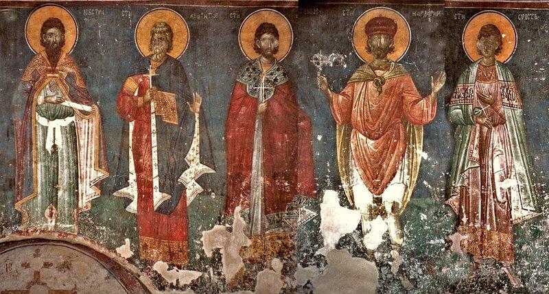 Святые мученики Евстратий, Авксентий, Евгений, Мардарий и Орест Севастийские. Фреска монастыря Грачаница, Косово, Сербия. Около 1320 года.