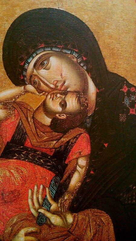 "Икона Божией Матери ""Пелагонитисса"" (""Взыграние Младенца""). Фрагмент."