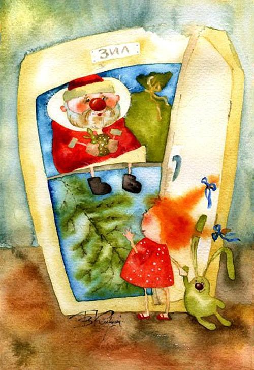 Дед Мороз,Новый год,иллюстрация,Виктория Кирдий