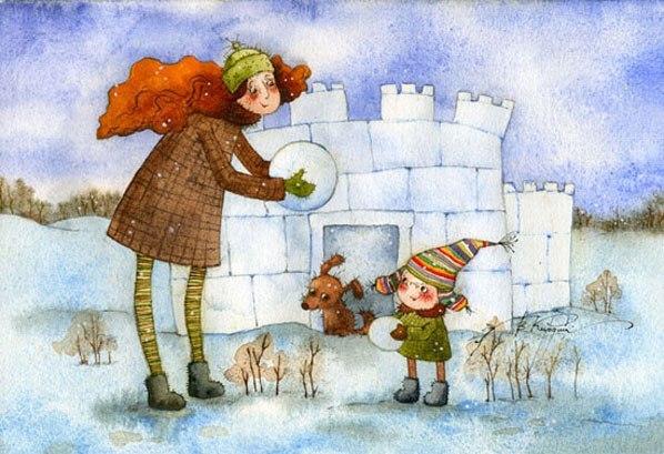 Радость и предновогоднее настроение - с рисунками Виктории Кирдий