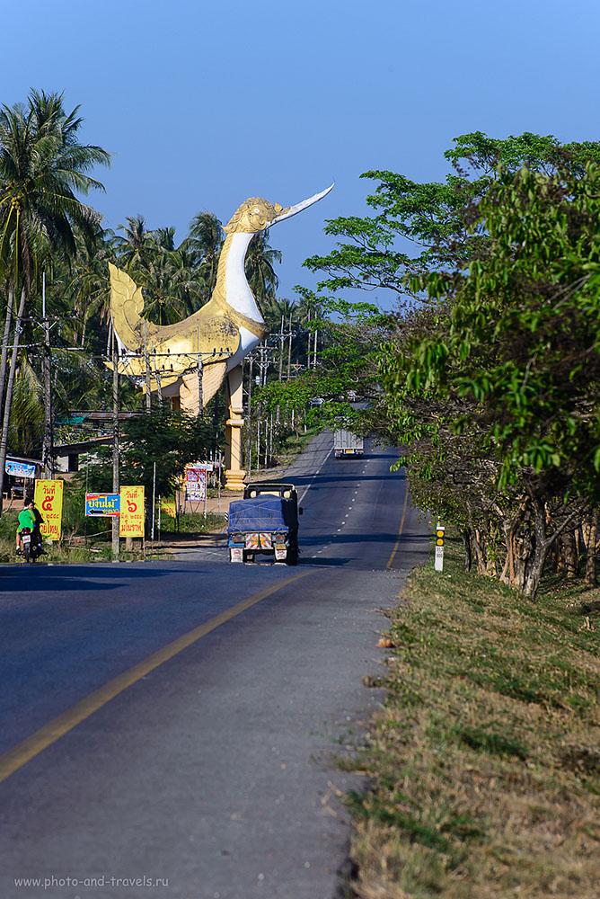 Фото 22. Золотой петушок на тайских дорогах. Поездка на машине в Хуахин (фотокамера Никон Д610, телеобъектив Никкор 70-300, параметры: 100, 185 мм, 8.0, 1/400)