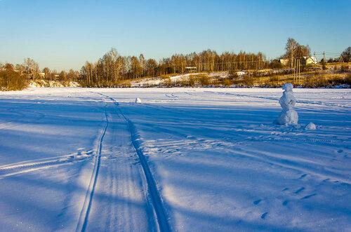Пейзаж со снеговиком !