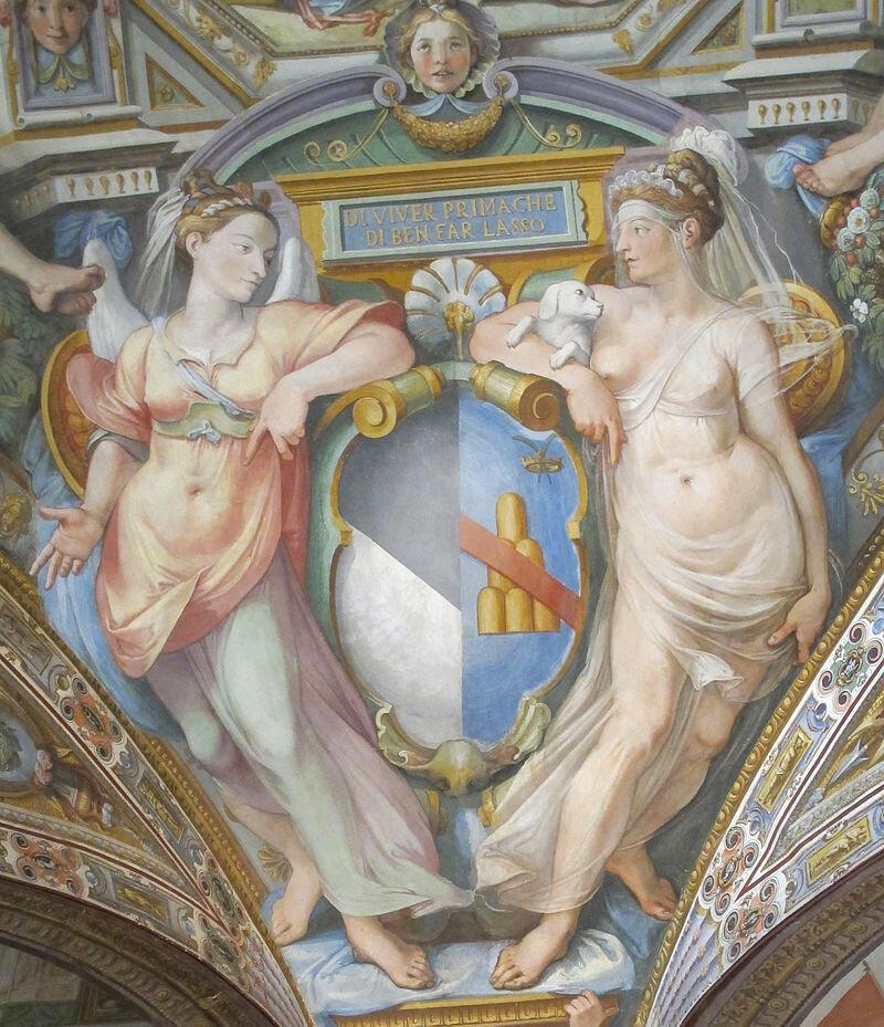 Palazzo_capponi-vettori,_salone_poccetti,_pennacchio_con_stemma_capponi_ridolfi,_2.JPG