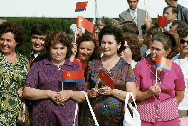 Soviet Citizens Holding Small Flags
