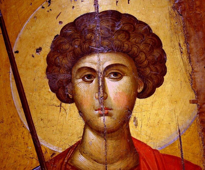 Святой Великомученик Георгий Победоносец. Икона. Византия, первая половина XIV века. Византийский музей в Афинах. Фрагмент.