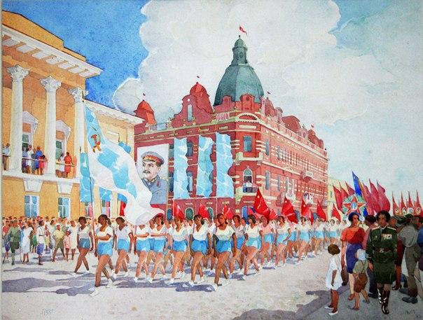 Мизеров В.В. «Парад Физкультурников», из фондов ТОКМ, 1946 год
