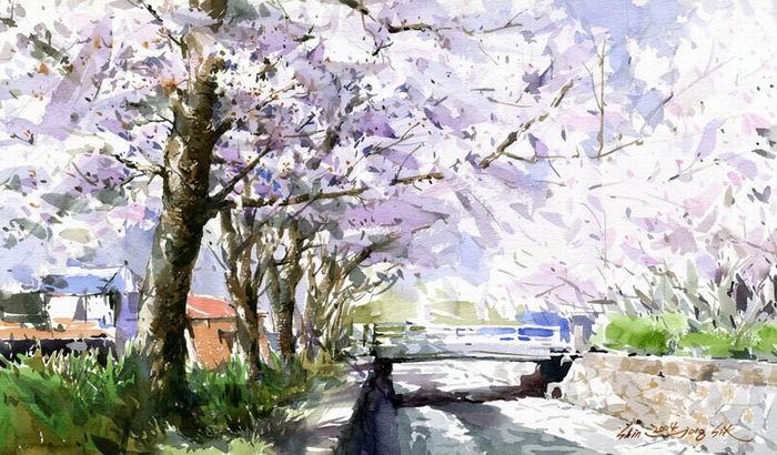 Южно-корейский акварелист Shin Jong Sik. Цветы и пейзажи