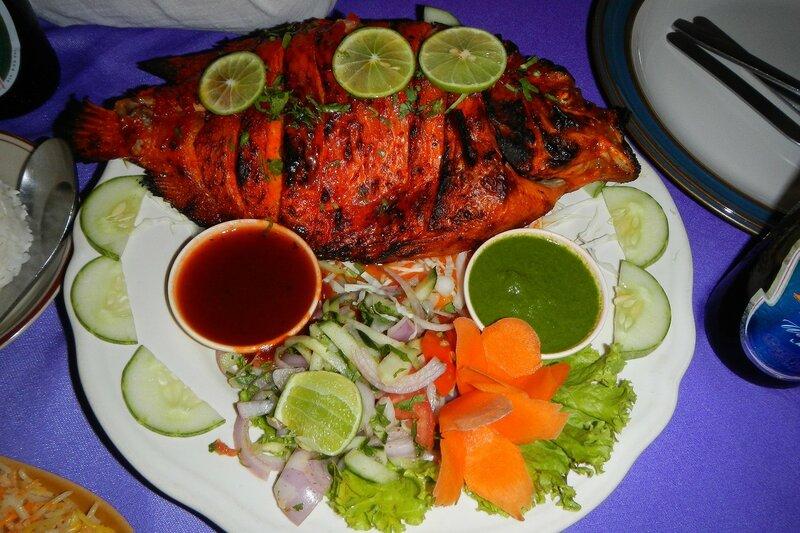 Рыба на гриле с овощами
