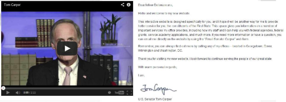 Способы текстовой презентации, представленные на персональном сайте сенатора Т.Карпера