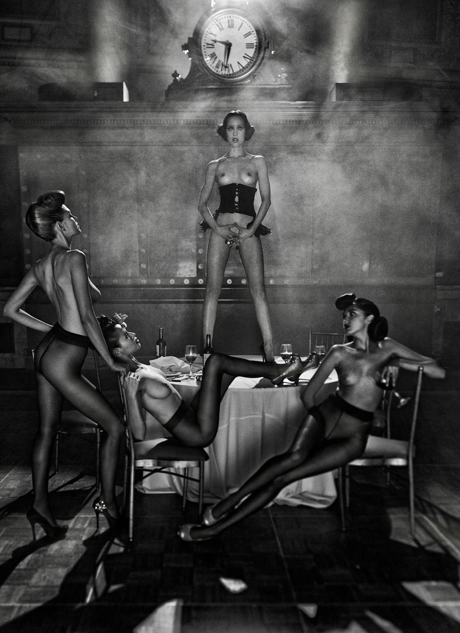 Judith Bedard, Kamila Wawrzyniak, Zhanna Havenko, Roza Abdurazakova - Filles de Nuit by Steven Lyon for Treats! fall 2011