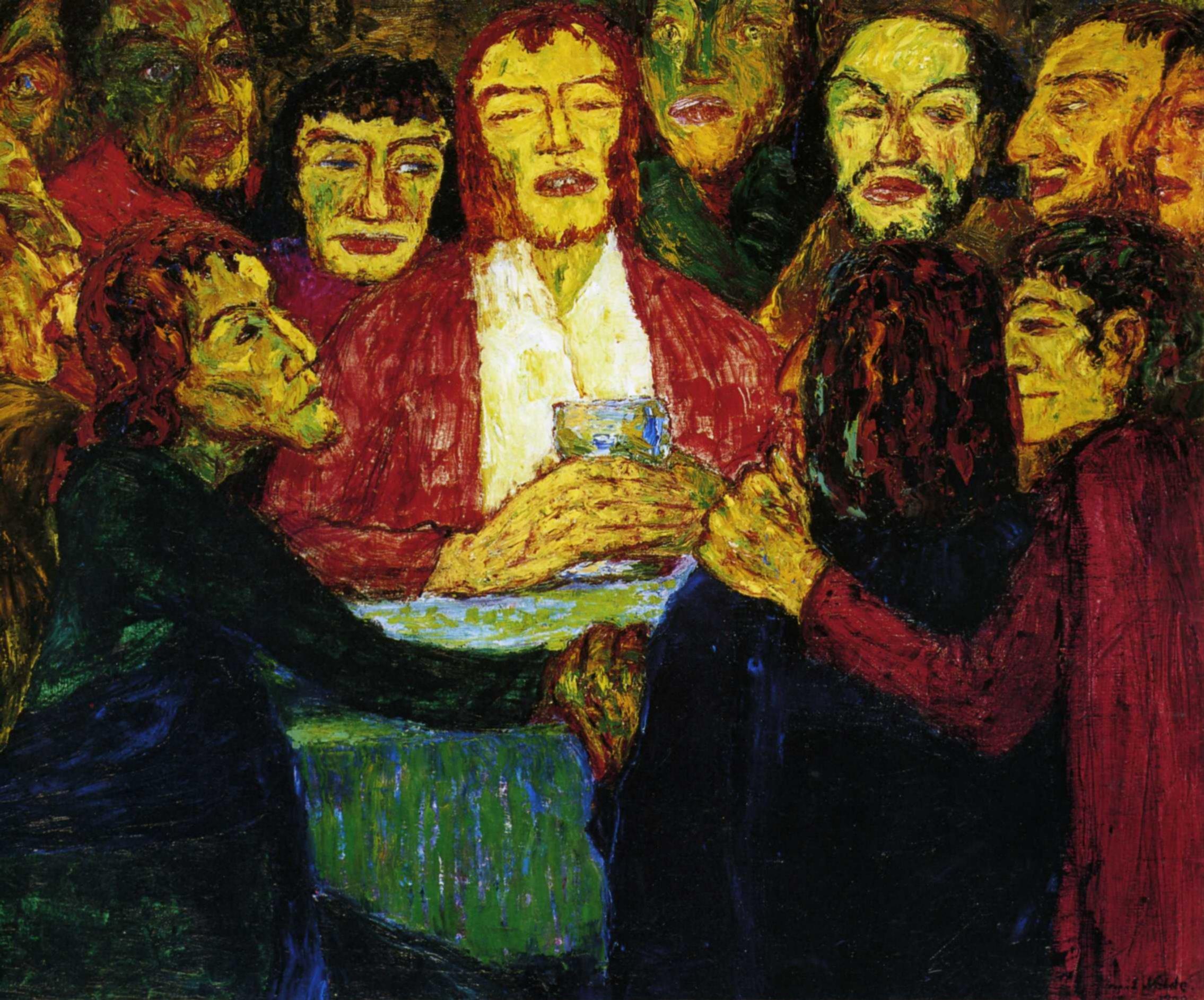 Эмиль Нольде (1867 — 1956) — один из ведущих немецких художников-экспрессионистов, считается одним из величайших акварелистов XX века. 1909. «Тайная вечеря»