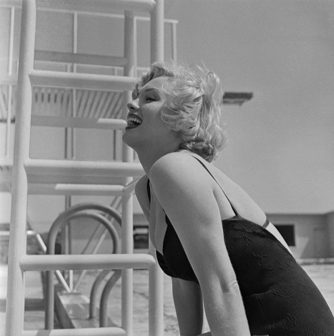 Marilyn Monroe in Bathing Suit Laughing