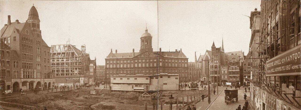 1916.  Панорама реконструируемой площади в Амстердаме