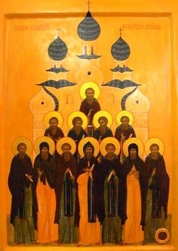 Святые 12 греков, строители Успенского собора Киево-Печерского монастыря.