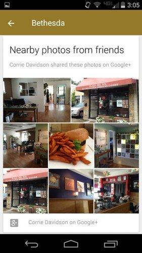 Новая карточка Google Now покажет фото друзей в Google+, сделанные поблизости