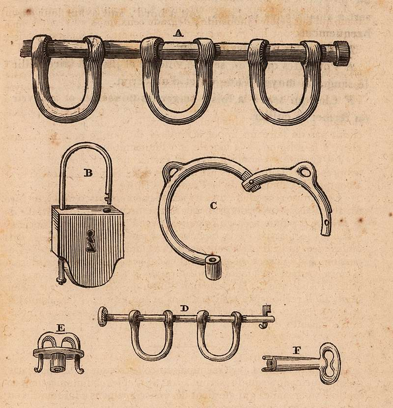 Оковы, кандалы и замки, использовавшиеся работорговцами в начале 19 века