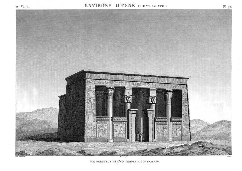 Храм Контра-Латополис напротив Эсны, общий вид, гравюра