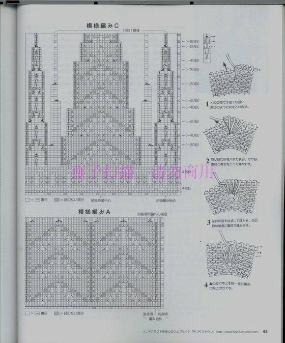 Вязание свитера модного спицами 159