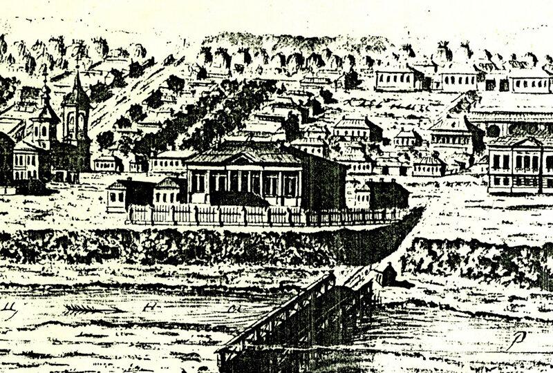 В.А. Усачёв. Вид губернского города Тамбова с восточной стороны. Гравюра 1799 г. Фрагмент