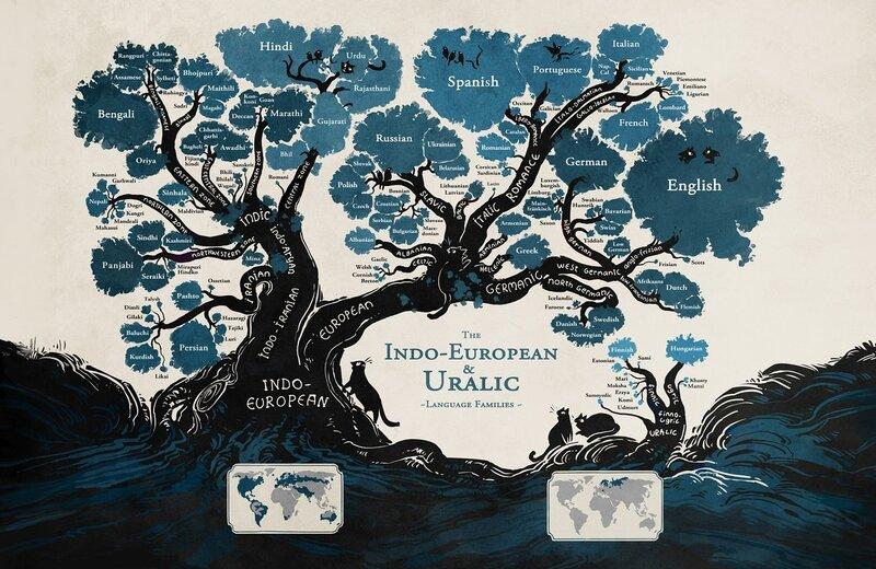 Все языки мира на одном дереве в виде понятной картинки