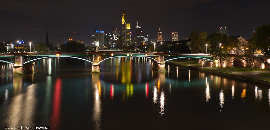 26. Frankfurt Skyline... Ночные фотографии снимают со штатива. Какие настройки использовать - читайте в рассказе об экскурсии в китайский город Фэнхуан