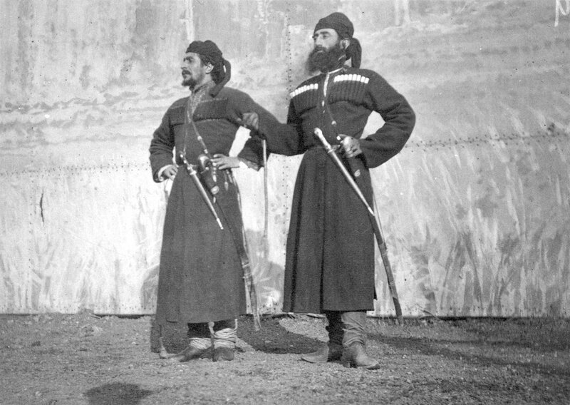 Two Russian Georgian Cossacks, left Luka Chkhartishvili, right Ivane Makharadze, in the cast of Buffalo Bill's Wild West Show, Earl's Court in London, England,1892