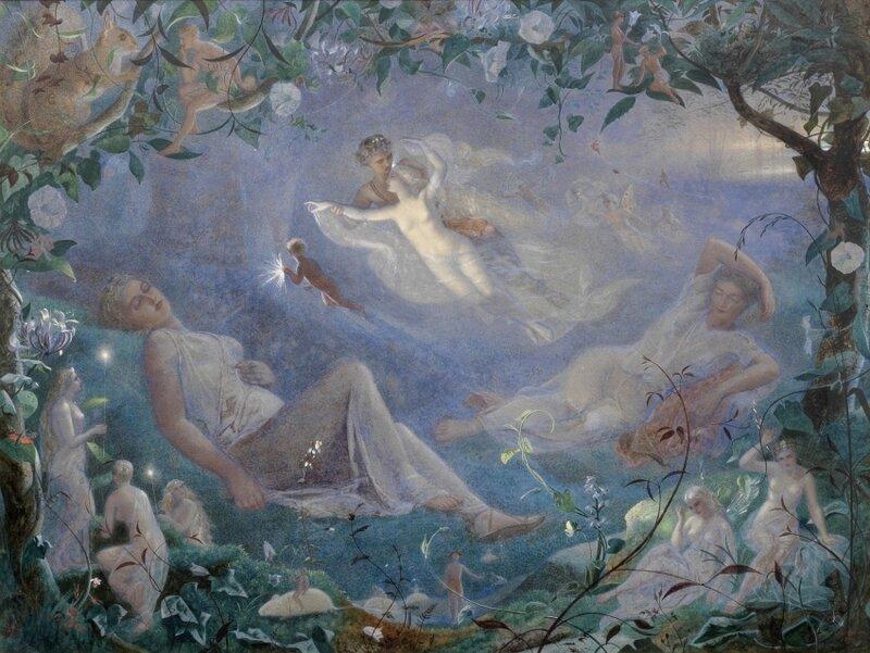 """Британский художник Джон Симмонс (1823-1876) """"Сон в летнюю ночь"""""""