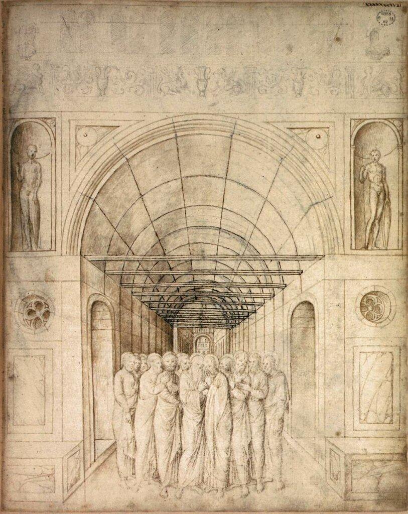 Jacopo_Bellini_-_The_Twelve_Apostles_in_a_Barrel_Vaulted_Passage_-1440-1470.jpg