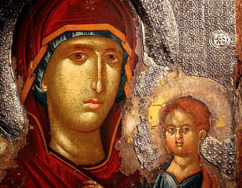 Богоматерь Одигитрия. Икона XIV века. Национальный музей, Белград. Фрагмент.