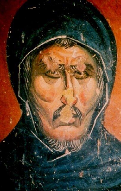 Святой Преподобный Ефрем Сирин. Фреска церкви Св. Николая в Псаче, Македония. 1365 - 1371 годы.