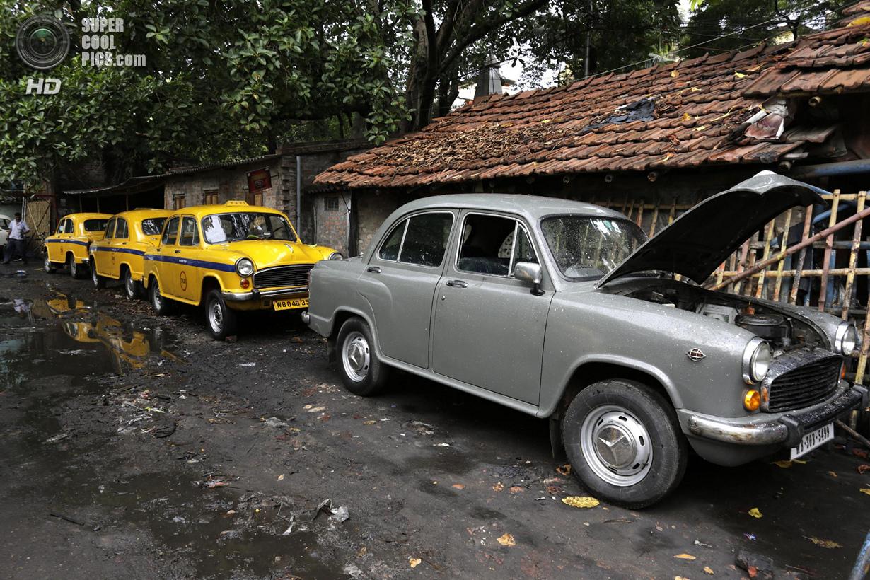 Индия. Калькутта, Западная Бенгалия. 26 мая. Hindustan Ambassador — три такси и один частный автомоб