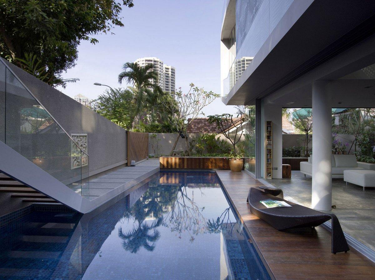 Czarl Architects, OOI House, частные дома в Сингапуре, особняк в Сингапуре, элитная недвижимость Сингапура, терраса на крыше дома, частный дом с бассейном