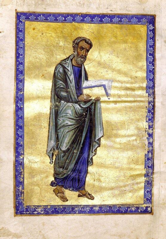 Святой Апостол и Евангелист Матфей. Византийская миниатюра XII века.
