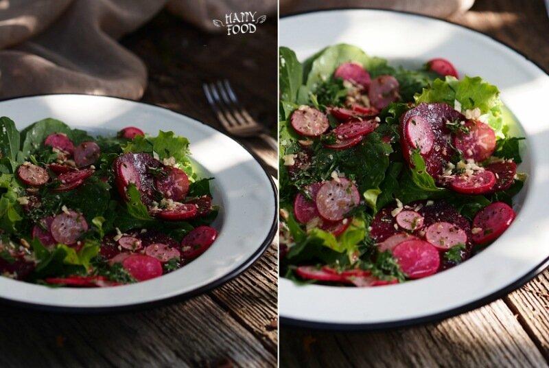 Розовый салат со свеклой и редисом