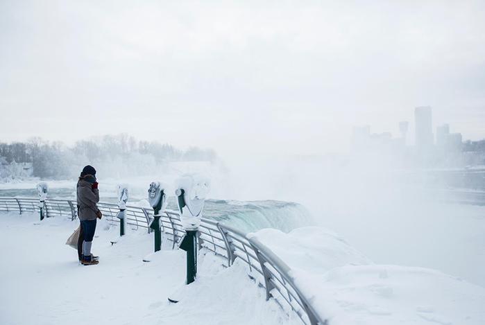 Фотографии замерзшего Ниагарского водопада зимой 2015 года