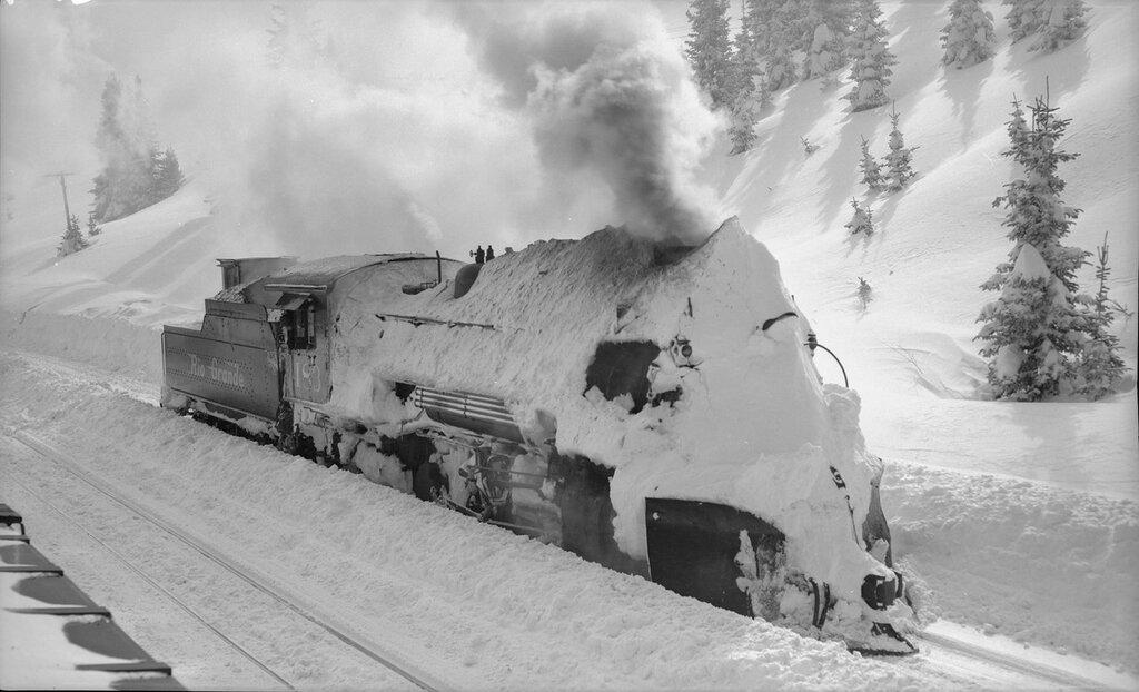 Denver and Rio Grande Western locomotive 483, covered in snow, at Cumbres (Conejos County), Colorado, January 21 1949