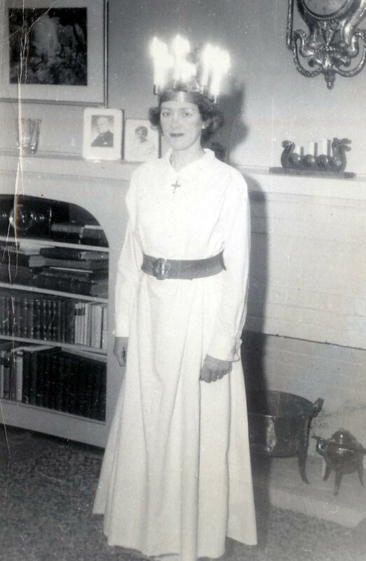 Birgit Ridderstedt dressed to perform as St. Lucy in Chicago in 1951.