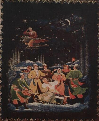 Николай Васильевич Гоголь - Ночь перед Рождеством - Котухина Анна Александровна, Палех, 1951 г.