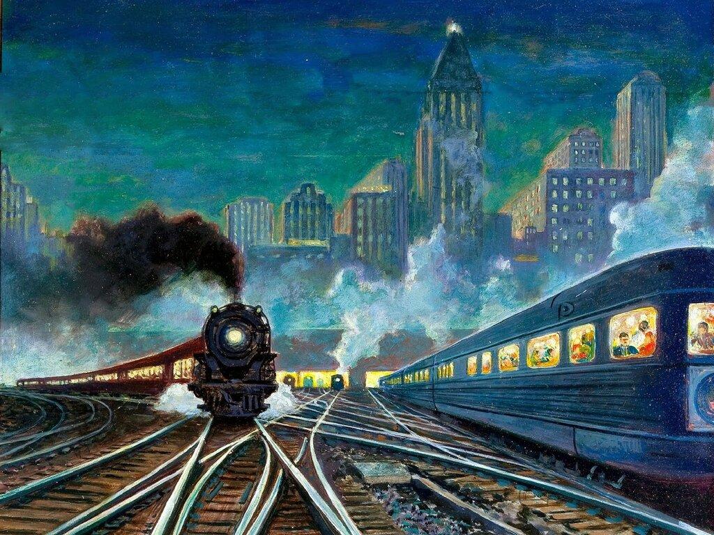 Открытка поезда, день